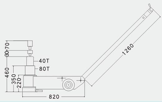 80-2气动液压千斤顶结构尺寸图