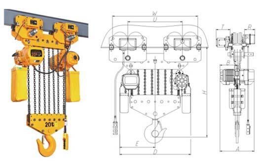 外壳: 外壳轻巧而坚固, 散热率高,全密封性设计适合在作业条件较差的环境中使用。 逆相保护装置: 为特殊电器装置, 当电源接线错误时, 控制电路无法工作。 极限开关: 重物吊上吊下都有极限开关装置,使电机自动停止,以防止链条超出,确保安全。 24V/36V装置: 当在操作时如遇到开关漏电,可防止意外事故发生。 制动装置: 此装置可以实现在电源切断时瞬间刹车。 链条袋: 轻巧、美观、耐用。 链条: 采用进口FEC80超强热处理合金钢链条。